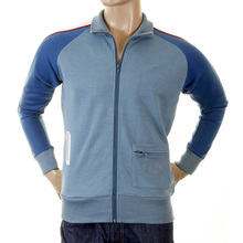 Evisu Mens Early and Original Azzure Blue Regular Fit Zip Front Collared Osaka Track Jacket EVIS0315