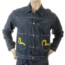 Evisu Washed Denim Early Rare Washed and Faded Vintage Worn Finish Two Pocket Jacket EVIS2341