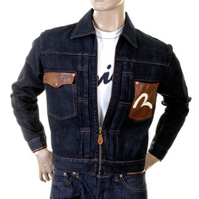 Evisu washed denim early original genuine rare ES03MJK04 BT61 set in leather pocket jacket EVIS0089