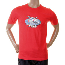 Evisu Mens Scarlet Cotton Crew Neck Short Sleeve Large Fitting T Shirt with Printed Evisu Air Line EVIS0338