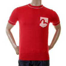 Evisu Mens Original and Rare Red Lightweight Knitted Cotton Regular Fit Crew Neck Short Sleeve T-shirt EVIS0334
