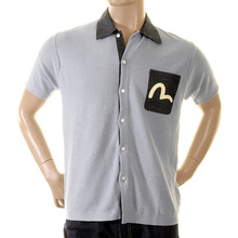 Evisu Deluxe Large Fitting Sky Short Sleeve Knitted Shirt with Ecru Printed Brand Logo on Chest Pocket EVIS2354
