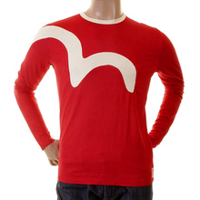 Evisu Red Crew Neck Original Rare Logo Insert Long Sleeve Stretch T Shirt in Red EVIS0037