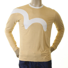 Evisu Camel Long Sleeve Early Genuine  Insert Stretch Crew Neck T Shirt EVIS0035