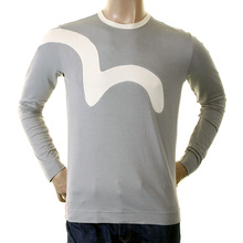 Evisu Grey Long Sleeve Early Genuine Rare Insert Stretch Crew Neck T Shirt EVIS0025
