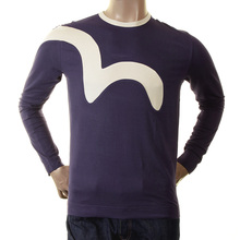 Evisu long sleeve Ink Early Genuine Crew Neck Insert Logo Stretch T Shirt EVIS0029