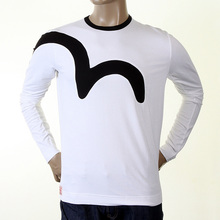 Evisu Early Original Long Sleeve Crew Neck White T Shirt with Black Logo Insert EVIS0009