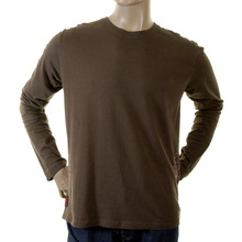 Evisu Genuine Mens Chocolate Brown Regular Fit Long Sleeve Crew Neck T Shirt with Evisu Maniacs Print EVIS0758