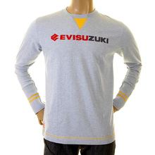 Evisu Sky Early Genuine Evisuzuki Larger Fitting Long Sleeve Crew Neck T Shirt with Printed Patches on Back EVIS1130