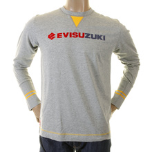 Evisu Genuine Rare Mens Crew Neck Evisuzuki Printed Long Sleeve Grey T-shirt EVIS1117