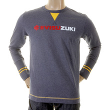 Evisu Early Original Ink Blue Long Sleeve Evisuzuki Printed Cotton Crew Neck T-shirt EVIS1122