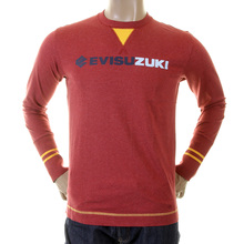 Evisu Early Original Crew Neck Long Sleeve Larger Fitting T-shirt in Dark Red with Evisuzuki Print EVIS1123