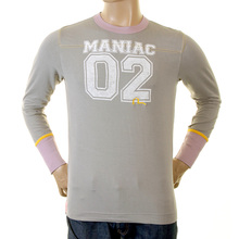 Evisu Mens Original and Rare Light Grey Regular Fit Crew Neck Long Sleeve Stretch T Shirt With Printed Faux College EVIS0248