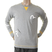 Evisu Early Genuine Marl Grey 5 Pocket Long Sleeve Large Fitting Crew Neck T-shirt EVIS1108