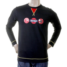 Evisu Mens Early and Genuine Black Cotton Long Sleeve Crew Neck Large Fitting T Shirt EVIS1542