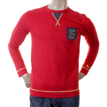 Evisu Genuine Early Larger Fitting Crew Neck Long Sleeves Cotton T-shirt in Red EVIS1528
