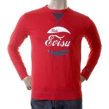 Evisu Mens Early Genuine and Rare Red Cotton Long Sleeve Crew Neck Large Fitting T Shirt EVIS1549