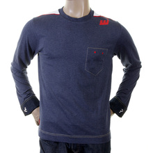 Evisu Early Original Ink Blue Cotton Crew Neck Larger Fitting Long Sleeve T-shirt with French Denim Cuffs EVIS1080