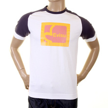 Evisu Mens Early Original White With Ink Blue Crew Neck Short Sleeve Large Fit T Shirt With Faux Kodak Print EVIS0222