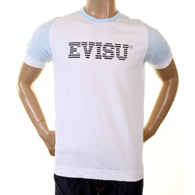 Evisu white with sky early original genuine rare ES03MTS04 J07 IBM t shirt EVIS0230
