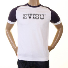 Evisu Mens Early Rare White with Ink Blue Cotton Crew Neck Short Sleeve Large Fit T Shirt With Faux IBM Print EVIS0229