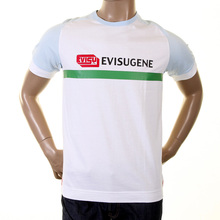 Evisu Mens Early Original White With Sky Blue Cotton Raglan Short Sleeve Crew Neck Large Fit Fuji T Shirt EVIS0241
