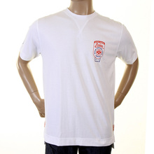Evisu Authentic Early Motor Sponsor Cotton Crew Neck Large Fitting Short Sleeve T Shirt in White EVIS0179