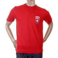 Evisu Genuine Short Sleeve Motor Sponsor Red Crew Neck T Shirt for Men EVIS0189