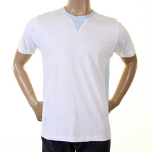 Evisu Maniacs Genuine Rare Crew Neck White T-Shirt with Sky Side Panels EVIS1253