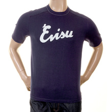 Evisu Mens Original and Rare Ink Blue Knitted Cotton Crew Neck Short Sleeve T-shirt With Embroidered Logo EVIS0322