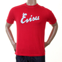 Evisu Mens Original and Rare Red Knitted Cotton Regular Fit Crew Neck T-shirt with Embroidered Logo EVIS0319