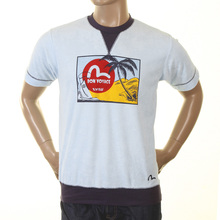 Evisu Early Original Bon Voyage Crew Neck Sky Towelling Regular Fit Short Sleeve T Shirt EVIS0163