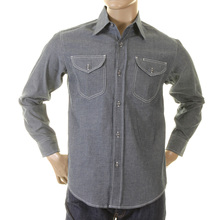Sugarcane Navy Chambray SC25638N Vintage Cut Regular Fit Long Sleeve Non Wash Workwear Shirt for Men CANE2021