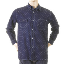 Sugar Cane Fiction Romance shirt SC25675A navy one wash start dot work shirt CANE2728