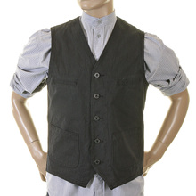 Sugarcane Striped Black Cotton SC12458 Vintage Cut Regular Fit Work Vest for Men CANE2727