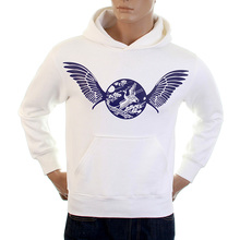 RMC Martin Ksohoh Large Fitting Freedom Crane RWC141264 White Hooded Sweatshirt with Navy Crane Print REDM1026