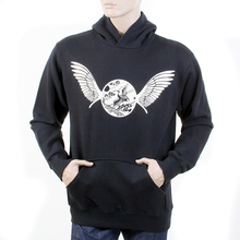 RMC Jeans Large Fitting Long Sleeved RWC141264 Black Hooded Sweatshirt with Freedom Crane Printed in Ecru REDM1027