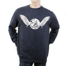 RMC Jeans RWC141262 Mens Navy Long Sleeved Crew Neck Sweatshirt with Ecru Freedom Crane Print REDM1028