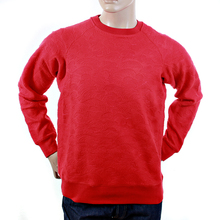 RMC Jeans R6WHTSUNAMIE Mens Raglan Sleeve Crew Neck Large Fitting Tsunami Wave Red Sweatshirt REDM1054