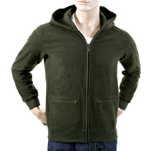 RMC Martin Ksohoh Bottle Green Wool Tsunami Wave R6MPJK492NDG Zipped Hoody Jacket Mens REDM1050