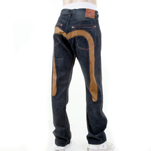Evisu 5 Pocket Vintage Finish Washed Vintage Denim Jeans with Leather Insert Diacock EVIS0067
