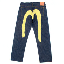 Evisu Yellow Painted Diacock Special Vintage Cut Non Wash Denim Jeans EVIS3791