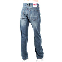 Evisu Mens European Edition Vintage Cut Light Wash Denim Jeans with Heavy Whiskering and Fading EVIS0678