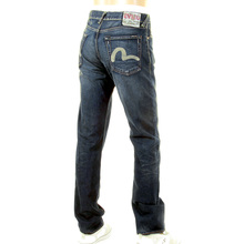 Evisu Mens European Edition Vintage Finish Rinsed Dark Indigo Vein Wash Denim Jean EVIS2194