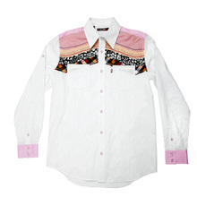 Yoropiko Pink and White Soft Collar Printed Regular Fit Diamond Jacquard Mens Long Sleeve Shirt YORO0264A
