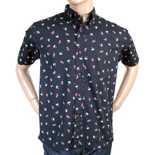 Sun Surf Mens SS36249 Navy Blue Regular Fit Short Sleeve Printed Aloha Hula Dancer Oxford Shirt SURF3812