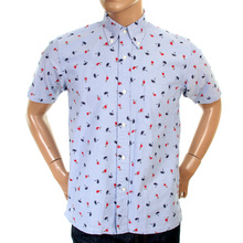 Sun Surf Mens SS34973 Blue Regular Fit Short Sleeves Printed Aloha Hula Dancer Oxford Shirt SURF3814