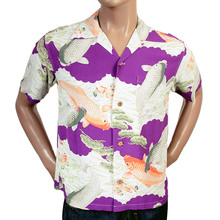 Sun Surf Mens SS36434 Purple Rayon Regular Fit Short Sleeve Koi Hawaiian Shirt With Cuban Collar SURF4300