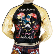 Tailor Toyo USA Eagle Black and Gold TT11781 Fully Reversible Souvenier Suka Jacket for Men TOYOSC4232