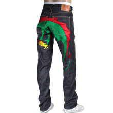 RMC Jeans Indigo Hungry Dragon 1001 Model Japanese Green and Red Embroidered Raw Selvedge Denim Jeans RMC3741